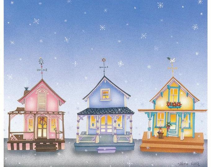 6 Celebrate the Holidays Together Greeting Cards | Hanukkah, Feliz Navidad & Christmas Greetings | Interfaith Celebration Cards | Val Walsh