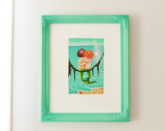 Merkids Framed Art Print | Vintage Framed MERMAIDS | Mermaid Painting | Seaside Wall Art | Nautical Print | Baby Nursery Art | Valerie Walsh