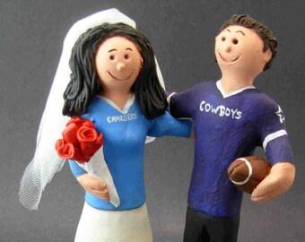 Dallas Cowboys Wedding Cake Topper, San Diego Chargers Wedding Cake Topper, Dallas Cowboys Wedding Anniversary Gift/Cake Topper