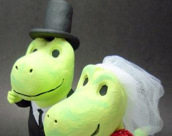 Cute Dinosaurs Wedding Cake Topper, Dino Bride and Groom Wedding Cake Topper, Dinosaur Groom in Top Hat Wedding Cake Topper
