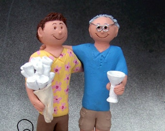 Wedding Cake Topper for Two Gay Grooms, Same Sex Wedding Cake Topper, Gay Wedding Figurine, Gay's Wedding Statue, Gay Men Wedding CakeTopper