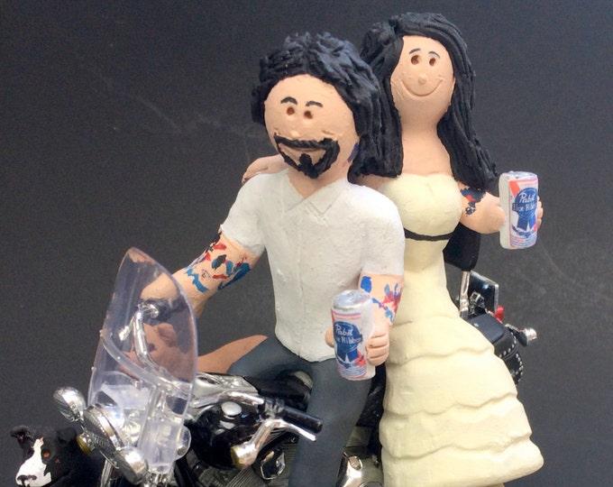Pabst Blue Ribbon Beer Wedding Cake Topper