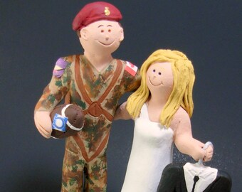 Paratrooper Groom Wedding Cake Topper, Soldier's Wedding Anniversary Gift/Cake Topper, Military Wedding Cake Topper, Navy Wedding CakeTopper