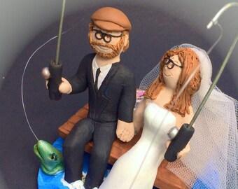 Bride and Groom Fish Off Dock Wedding Cake Topper - Fishing Wedding Cake Topper, At The Cottage Dock Wedding Cake Topper Custom Made