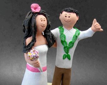Beach Destination Wedding Cake Topper - Shopping Diva Wedding Cake Topper - Hawaiian Wedding Cake Topper -Beach side Wedding Cake Topper