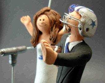 Dallas Cowboys Football Wedding Cake Topper, Football Bride and Groom Wedding Cake Topper, NFL Football Wedding CakeTopper,NCAA Caketopper
