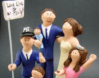 Custom Made Blended Family Wedding Cake Topper,Mixed Family Wedding Cake Topper, Step Family Wedding Cake Topper, Blended Family Caketopper