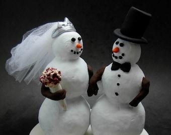 Snowman Bride and Groom Wedding Cake Topper, custom made Snowman Wedding Cake Topper,  Wedding Cake Topper for Snowmen