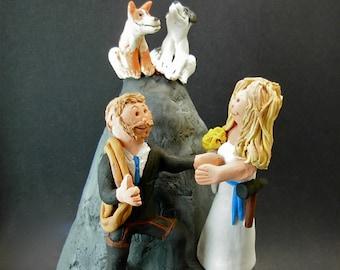 Mountain Climbers Wedding Cake Topper, Mountaineers Wedding Cake Topper, Hiker's Marriage CakeTopper, Wedding Cake Topper for Hiking Bride