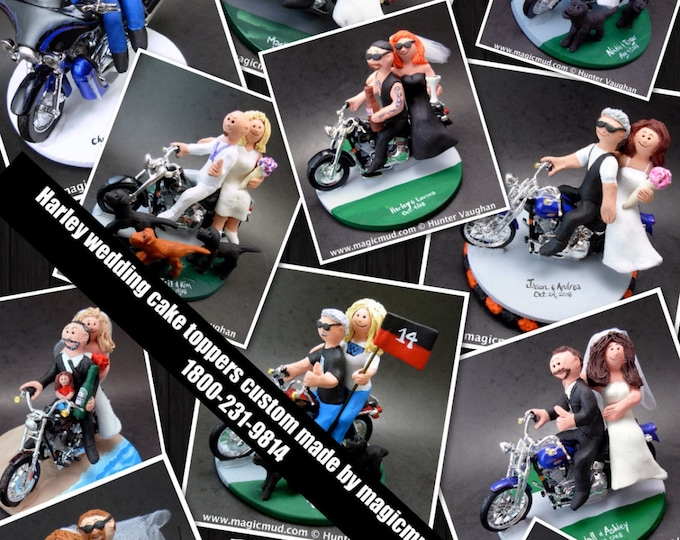 Couple on Harley Davidson Motorcycle Wedding Cake Topper, Bikers Wedding Anniversary Gift, CakeTopper for Motorcycle Bride