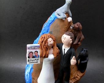 Rock Climbers Wedding Cake Topper, Wedding CakeTopper for Rock Climbing Bride and Groom, Mountain Climbers Wedding Cake Topper