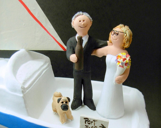 SailBoat Wedding Cake Topper, Yachting Wedding Cake Topper - Sailor's Wedding Cake Topper- MotorBoat Wedding Cake Topper
