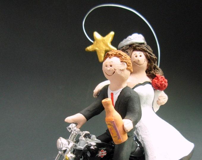 Couple on Harley Davidson Sportster Wedding Cake Topper, Bikers Wedding Anniversary Gift, CakeTopper for Motorcycle Bride