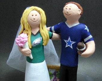 Philadelphia Eagles Bride Wedding Cake Topper, Dallas Cowboys Groom Wedding Cake Topper, Football Team Bride and Groom Wedding Cake Topper