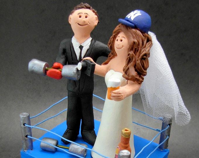 WWE Wrestling Ring Wedding Cake Topper - Custom Made Wrestlers Wedding Cake Topper - WWF Wedding Cake Topper - Pro Wrestling League Topper