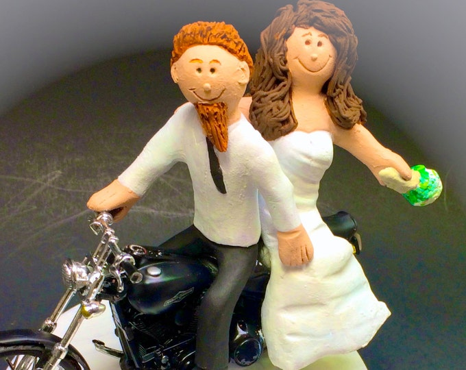 Bearded Hipster on a Harley Motorcycle Wedding Cake Topper, Bearded Bikers Wedding CakeTopper, Motorcycle Bride and Groom Wedding CakeTopper