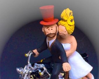 Groom in Top Hat on Harley Davidson Wedding Cake Topper, Bikers Wedding Cake Topper, Motorcycle Wedding Cake Topper, Harley Wedding Cake Top