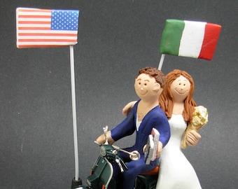 Italian Bride American Groom Wedding Cake Topper, Wedding CakeTopper with Country of Origin Flags,Vespa Wedding Cake Topper,wedding figurine