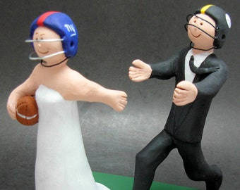Football Wedding Cake Topper,  Football Bride Wedding Cake Topper -  Steeler's Wedding Cake Topper - New York Giants Wedding Cake Topper