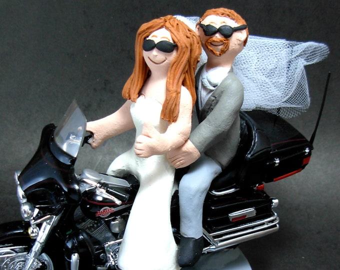 Bride Driving a Harley Motorcycle Wedding Cake Topper, Motorcycle Bride and Groom Wedding Cake Topper, CakeTopper for Motorcycle Bride