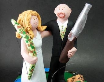 Bow Hunting Bride Shotgun Groom Wedding Cake Topper, Hunters Wedding CakeTopper, Redneck Wedding Cake Topper, Bow Hunters Wedding CakeTopper