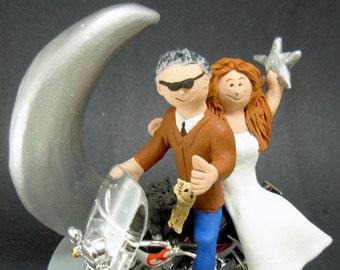 Harley Motorcycle Wedding Cake Topper, Wedding Cake Topper for Bikers, Motorcycle Wedding Cake Topper, Crescent Moon Wedding Cake Topper
