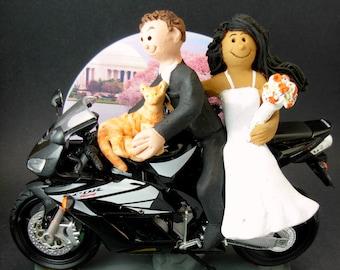 Bride and Groom on Honda Sportbike Motorcycle Wedding Cake Topper, Sport Motorcycle Wedding Cake Topper, Honda Wedding Cake Topper