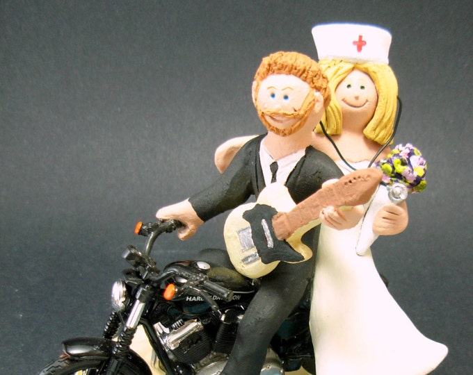 Nurse Bride on a Harley Motorcycle Wedding Cake Topper