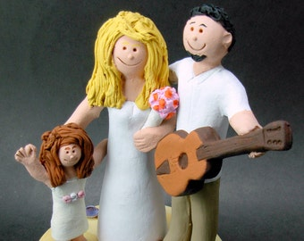 Acoustic Guitarist's Wedding Cake Topper, Guitar Wedding Cake Topper, Wedding Cake Topper with Daughter, Step Daughter Wedding Cake Topper