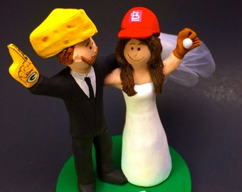 """Green Bay Packers """"Cheesehead"""" Football Wedding Cake Topper, St. Louis Cardinals Wedding Cake Topper,  Wedding Cake Topper custom made"""