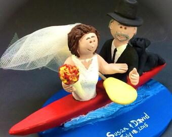 Bride and Groom Kayaking Wedding Cake Topper - Custom Made Kayak Wedding Cake Topper, Whitewater Kayak Wedding Cake Topper