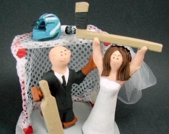 Hockey Bride Wedding Cake Topper, Goalie Groom Wedding Cake Topper, Hockey Wedding Cake Topper, Hockey Wedding Figurine, Wedding Cake Statue