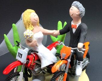 Desert Dirt Bikers Wedding Cake Topper, KTM Motorcycle Wedding Cake Topper, Honda Dirt Bike Wedding Cake Topper, Bikers Wedding Cake Topper