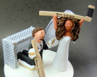 Goalie Groom Wedding Cake Topper, Hockey Bride and Groom Wedding Cake Topper, Wedding Anniversary Gift/CakeTopper, Hockey Wedding Figurine