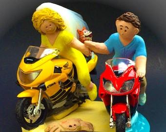 Bride and Groom on Honda CBR Sportbikes Wedding Cake Topper, Motorcycle Wedding Cake Topper, Wedding Cake Topper for Motorcycle Riders