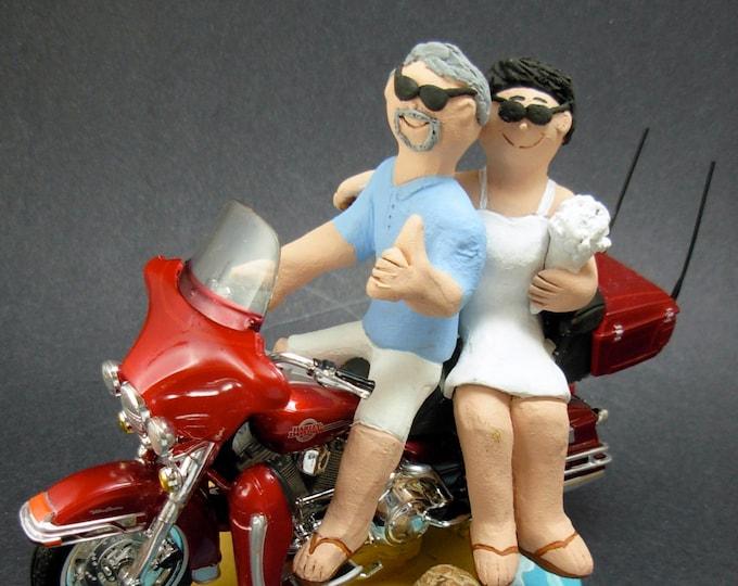 Harley-Davidson Motorcycle Wedding Cake Topper, Bikers Wedding Cake Topper, Motorcycle Bride and Groom Wedding Cake Topper, motorcycle Bride