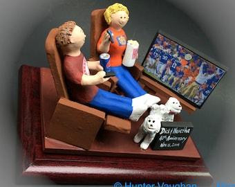 40th Wedding Anniversary Caketopper - Custom Made Anniversary Figurine, Mom and Dad Watching TV Anniversary Gift