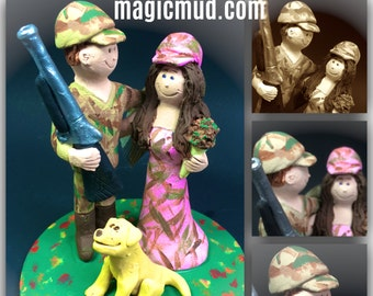 Bride in Pink Camouflage Wedding Cake Topper, Wedding Cake Topper for Hunters, Hunting Wedding Cake Topper, Shotgun Wedding Cake Topper