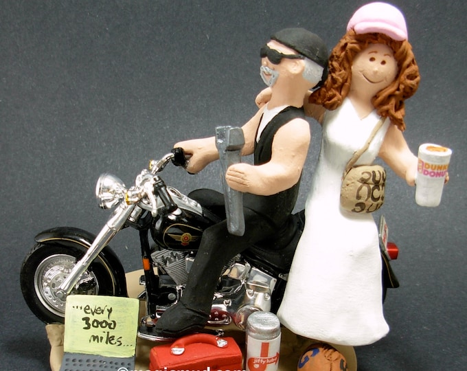 Dunkin Donuts on a Harley Motorcycle Wedding Cake Topper