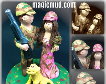 Hunting Groom Wedding Cake Topper, Duck Hunter's Wedding Cake Topper - Redneck Wedding Cake Topper - Shotgun Wedding Cake Topper