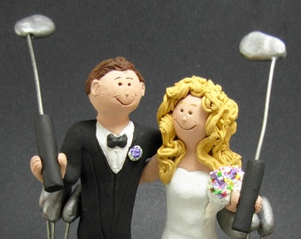 Golfing Wedding Cake Toppers, Custom Made Golfers Wedding Cake Topper - Wedding Cake Topper for Golfing Bride and Groom - Golf Cake Topper