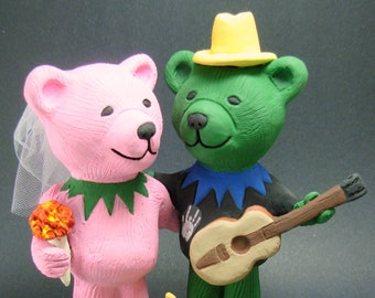 Rock and Roll Bears Wedding Cake Topper , Custom Made  Dancing Bears Wedding Cake Topper, Hippie Bear Wedding Cake Topper
