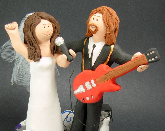 Rock n Roll Guitarist's Wedding Cake Toppers, Custom Made Rock Star Wedding Cake Topper - Guitar Wedding Cake Topper