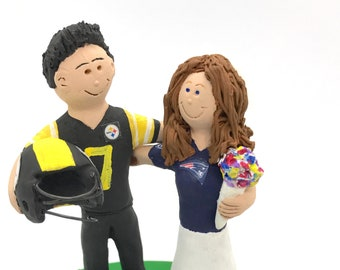 NCAA Football Wedding Cake Topper, Patriots vs Steelers Wedding Cake Toppers, Custom Made NFL Wedding Cake Topper