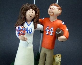 College Football Wedding Cake Topper,  Football Bride Wedding Cake Topper - Football Fan's Wedding Cake Topper