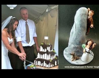 Rock Climbers Wedding Cake Topper, Wedding Cake Topper for Mountain Climbers, Wedding CakeTopper for Rock Climbing Bride and Groom