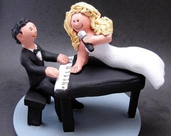 Singing Bride's Wedding Cake Topper, Piano Players Wedding Cake Topper, Lounge Singers Wedding Cake Topper, Singing Diva Wedding Cake Topper