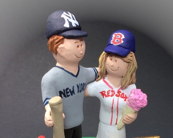 Red Sox Bride Yankees Groom Baseball Wedding Cake Topper - New York Yankees Wedding Cake Topper, Boston Red Sox Wedding Cake Topper