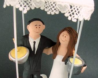 Under a Chuppah Wedding Cake Topper, Custom Made Jewish Wedding Anniversary Cake Topper, Jewish Marriage Figurine, Jewish Wedding CakeTopper