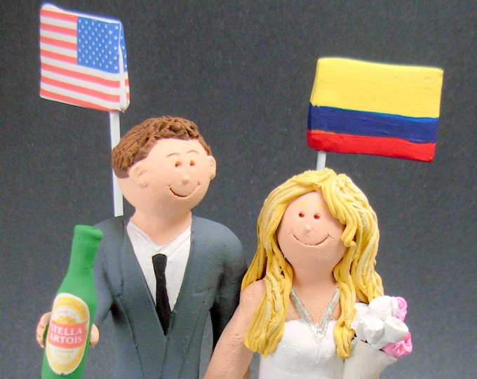 Country of Origin Flags Wedding Cake Topper, International Marriage Wedding Cake Topper, Wedding CakeTopper with Country Flags,Flags Caketop
